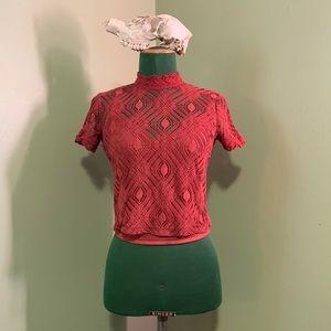 Zara burnt orange/red lace and crochet crop top